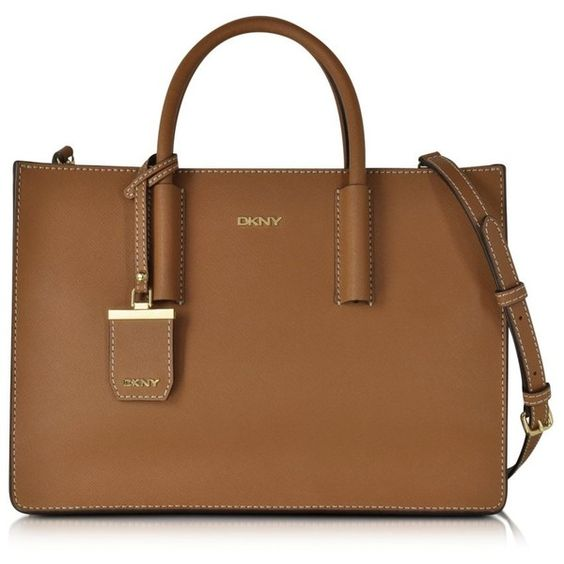 DKNY Handbags Bryant Park Tan Saffiano Leather Tote Bag (£240) ❤ liked on Polyvore featuring bags, handbags, tote bags, tan tote bag, tan handbags, dkny, zip top tote and brown purse