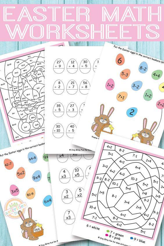 Easter Math Worksheets {Free Kids Printables} | Easter worksheets ...