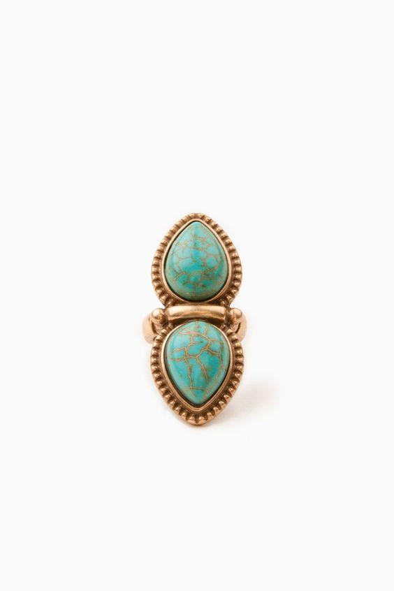 Dual Teardrop Ring / ShopSosie #teardrop #turquoise #stone #stretch #ring #shopsosie #sosie