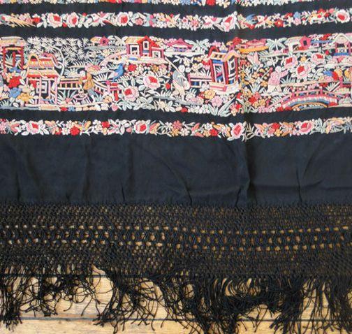 Maria Niforos - Fine Antique Lace, Linens & Textiles : Antique & Vintage Shawls # SH-44 Magnificent Canton Silk Shawl w/ Architectual, Figurals & Animals