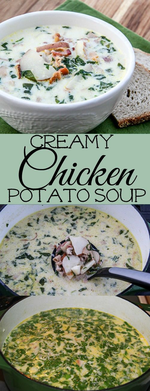 Creamy Soup with Potatoes, Spinach, Chicken and Bacon. ValentinasCorner.com