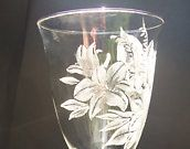 "Hand engraved One of a kind glass ""lillies in bloom"" By Glass Goddess Ngraving on Etsy"
