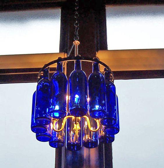 """17"""" Cobalt Blue with Brass    Wine Bottle Chandelier"""