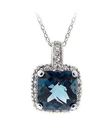 Take a look at this London Blue Topaz & Sterling Silver Cushion Pendant Necklace by Designs by FMC on #zulily today!
