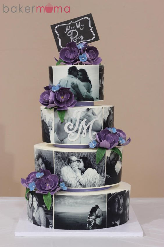 All buttercream cake. The photos were printed on edible icing paper with gum paste orchids.