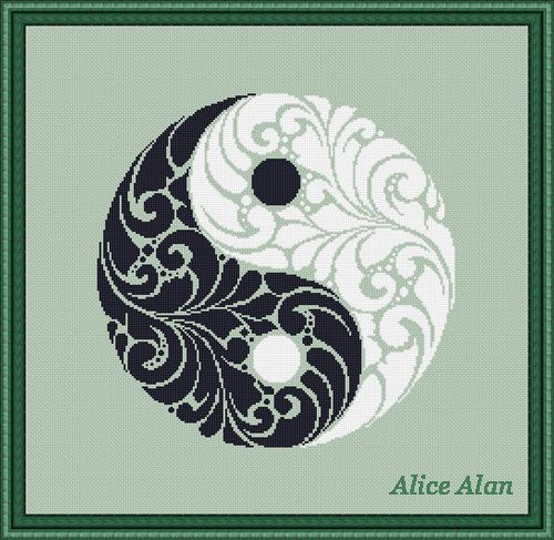 Cross Stitch Pattern Mandala Vintage Yin Yang Symbol von HallStitch