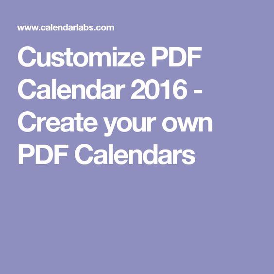 Customize PDF Calendar 2016 - Create your own PDF Calendars