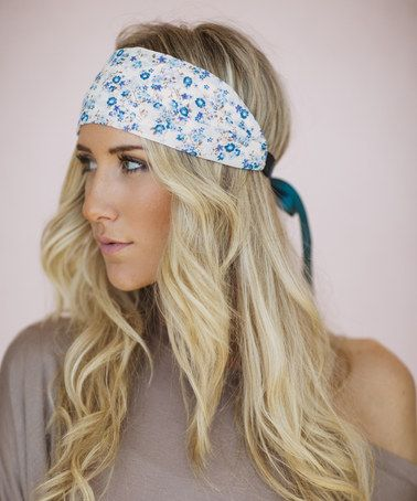 Another great find on #zulily! Ivory & Jade Floral Satin Ribbon Headband by Three Bird Nest #zulilyfinds