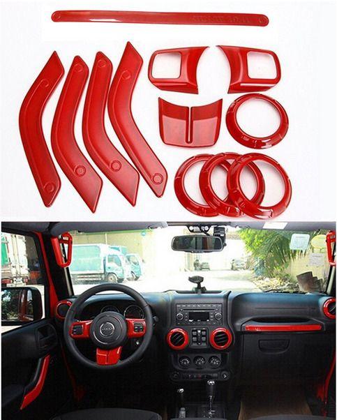 12pcs//set Red Interior Decoration Trim For 2011-2017 Jeep Wrangler /& Unlimited