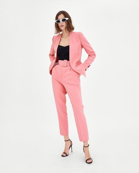 pantalones rosas zara mujer