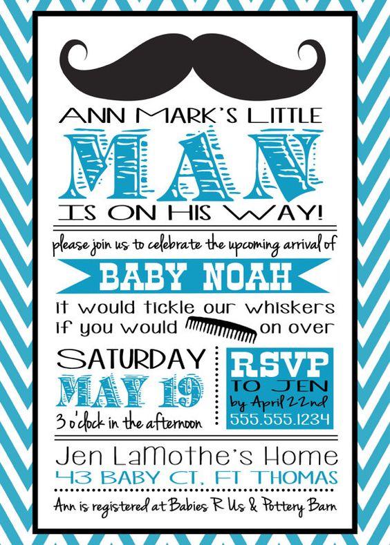 Mustache Little Man Baby Shower Invitation for a Baby Boy- blue/ turquoise & black | Niños, Bebé ...