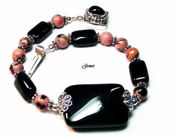 Rhodonite and Black Onyx Bracelet  Pink Stratus  by Gonet by Gonet