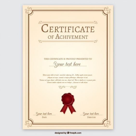 Certificate decorated with blue shapes Free Vector Certificates - certificate