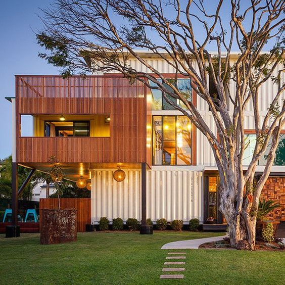 Jaora Street Container House in Australia This container home is the biggest of its kind in Australia -- it was made from a whopping 31 shipping containers! The creation from Ziegler Build is three stories high and over 7,500 square feet. #FavoriteContainerHomes