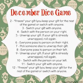 Dice Gift Exchange game by playpartypin.com