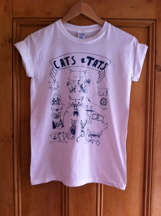 Cat Tattoo T Shirt Indie Punk | eBay
