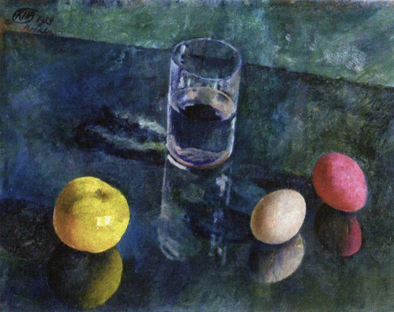 Петров-Водкин. Натюрморт на зеленом фоне. 1924