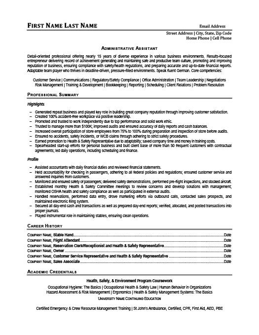 Administrative Assistant Resume Template Premium Resume Samples - health administrative assistant resume