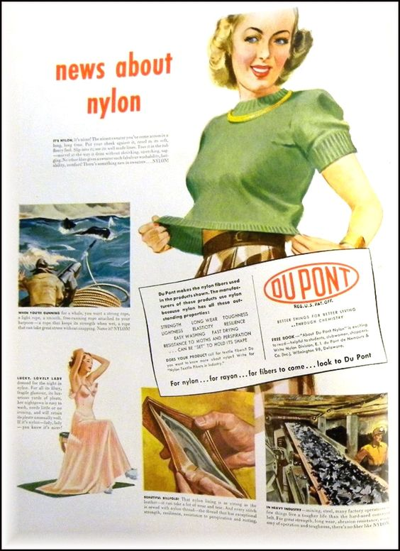 """News about nylon"". Sexy sweater girl! Vintage advertisement from LIFE Magazine May 24, 1948."