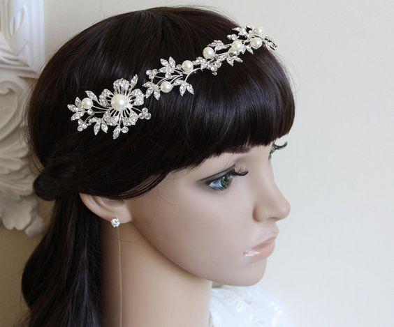 Bridal Hair Piece Bridal Crown Pearl Tiara Crystal by BridalCloset