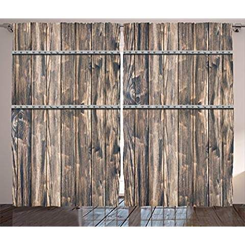 Ambesonne Wooden Decor Curtains Rustic Wooden Long Farmhouse Themed Planks With Screws And Lines Art Livin Rustic Farmhouse Furniture Wooden Decor Home Decor