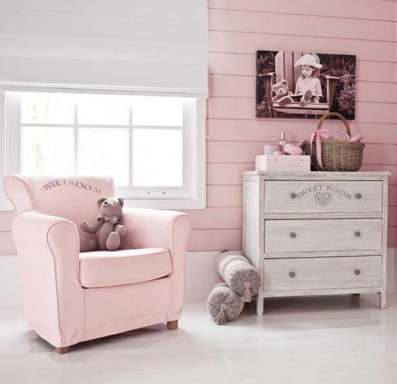 fauteuil enfant rose pastel chambre fille vintage