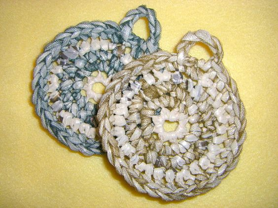 Green and Gold Plarn Dish Scrubbies two by plarnstar on Etsy, $6.00
