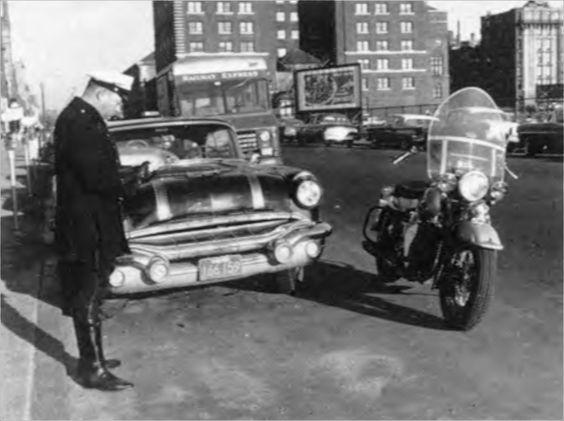 Boston Police Officer Writing A Ticket Photo Circa 1959