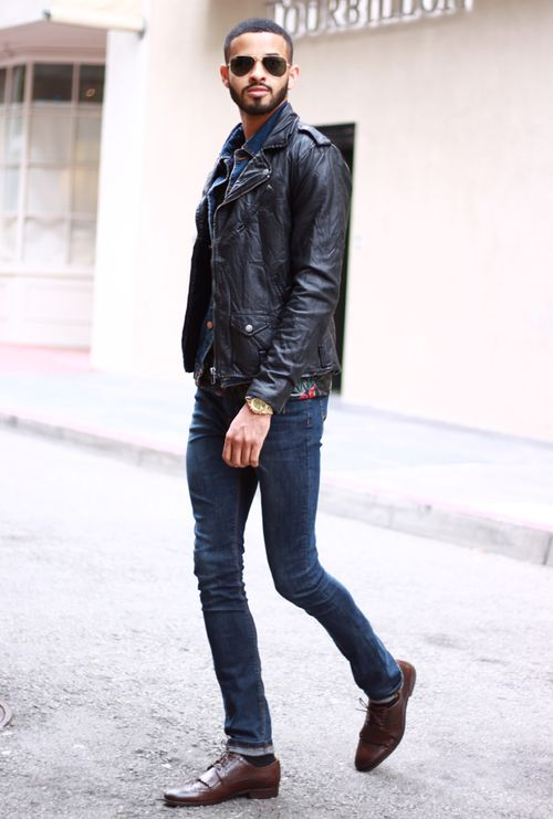 Leather jacket shoes
