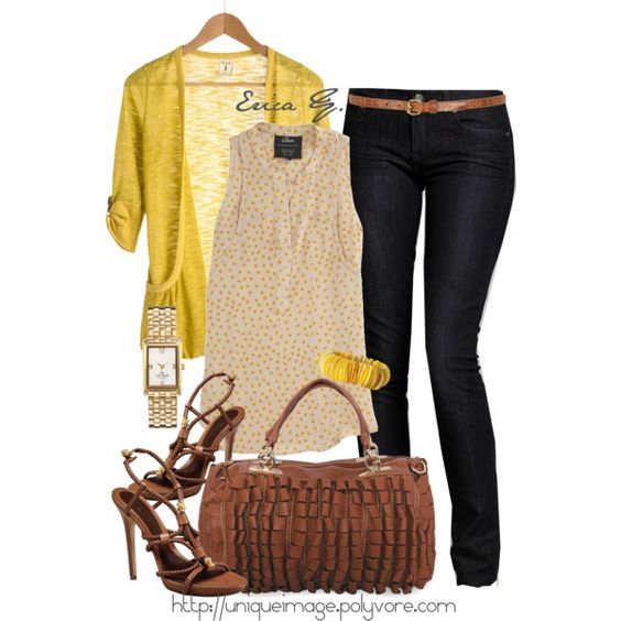"""""""Yellow Sheer Cardigan"""" by uniqueimage on Polyvore"""