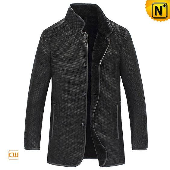 Designer black sheepskin jacket for men made of genuine Australian