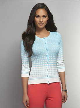 Dotted Crew-Neck Cardigan with Striped Trim
