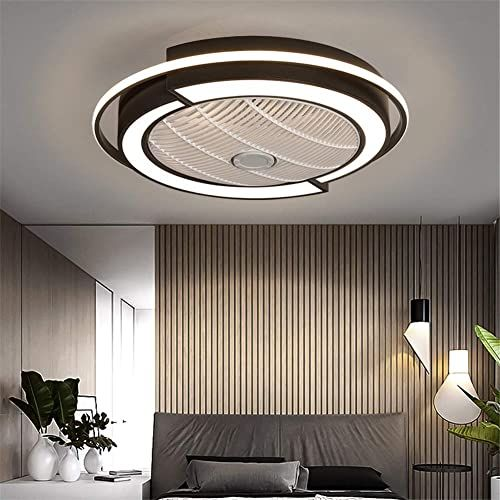 Enjoy Exclusive For Ceiling Fan Lights Modern Led Remote Control Dimmable Hidden Blade Low Profile Semi Flush Mount Enclosed Fandelier Lamp Black 58cm 23inch On In 2020 Flush Mount Ceiling Fan Black Lamps Ceiling