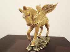 Pegasus Flying Golden Winged Horse Trinket Jewelry Box Swarovski Crystal Enamel