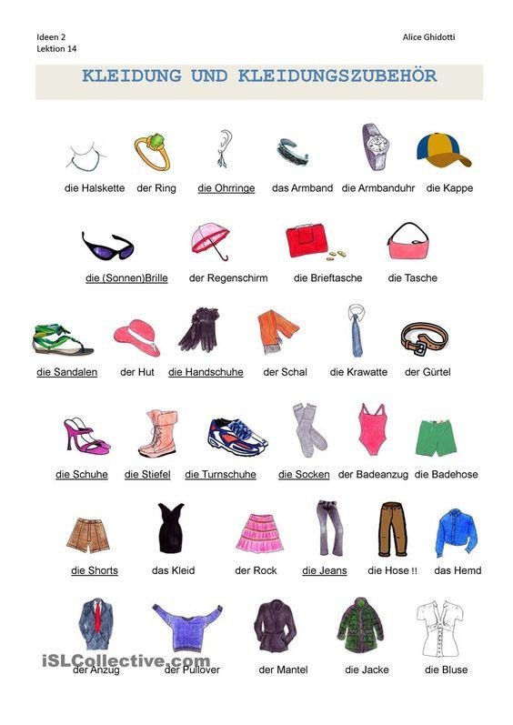 Kleidung: Wortschatz   KOSTENLOS DAF Arbeitsblätter