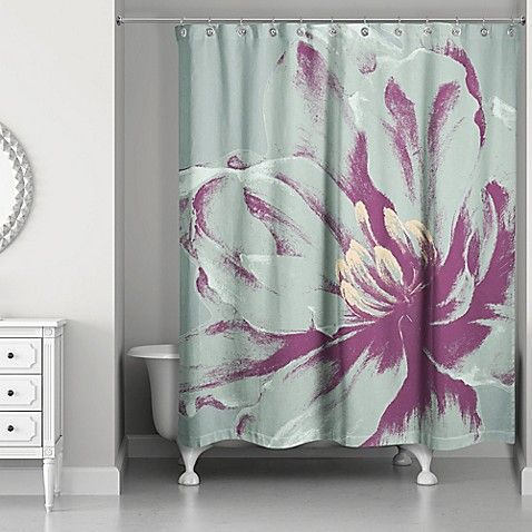 Designs Direct Graphic Floral I Shower Curtain In Teal Designs