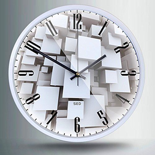 12 Inch Non Ticking Silent Wall Clock With Modern And Nice Design For Living Room Large Kitchen Metal Frame Round Wall Clock Battery Operated Clock 606 White Round Wall Clocks Wall Clock Clock