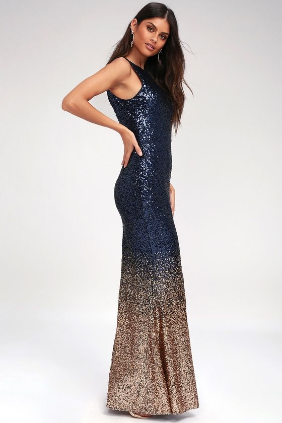 Infinite Dreams Rose Gold And Navy Blue Ombre Sequin Maxi Dress Sequin Bridesmaid Dresses Dresses Blue And Gold Dress