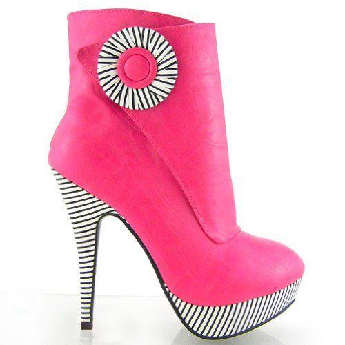 Show Story Hot Pink Black White Stripe Button Zip High Heel Platform Ankle Boots Bootie,FZ97302HP40,8US,Pink Show Story,http://www.amazon.com/dp/B00F306SBW/ref=cm_sw_r_pi_dp_AFU4sb0QG830MDVZ