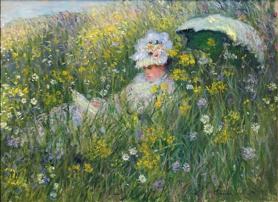 Dans la prairie (1876). Claude Monet (French, 1840-1926). Oil on canvas. In his Argenteuil days (1872-1878), Monet frequently painted his first wife, Camille. Here is a perhaps lesser known work where Camille is almost submerged in the middle of a wealth of flowers as she reads her book. The painting was first shown at an exhibition in Paris in 1877. Its colour-filled canvas is built with darting brushstrokes.: