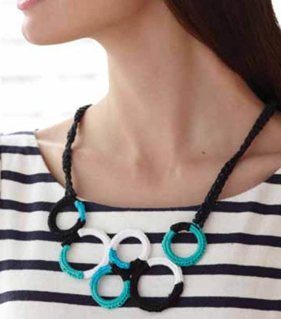 Create this cute crochet rings necklace in fun colors to match any outfit!