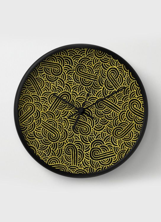 """""""Black and golden zentangles"""" Wall Clock by Savousepate on Society6 #wallclock #homedecor #pattern #abstract #zentangles #doodles #scrolls #gold #black #blingbling"""
