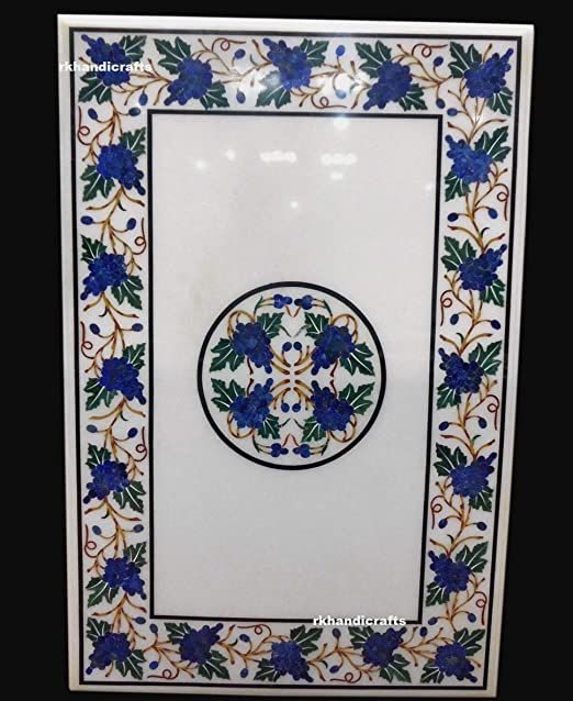 Marble Coffee Table Top with Lapis Lazuli Stone Inlay Work Corner Table Floral Design from Indian Vintage Crafts
