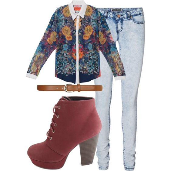 A fashion look from November 2014 featuring Clover Canyon blouses, Vero Moda jeans and Charlotte Russe ankle booties. Browse and shop related looks.