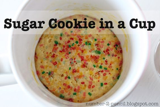 Sugar Cookie in a Cup. Make in 5 minutes using your microwave. Great recipe when you just want to satisfy a craving and not make a whole batch.