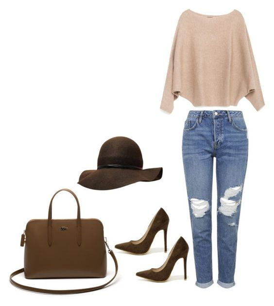 """Marron"" by michi-q-xd on Polyvore featuring moda, Topshop, Zara, Shoe Republic LA y Lacoste"