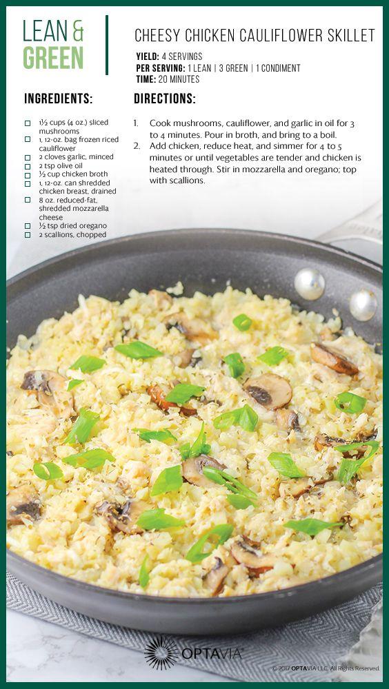 Cheesy Chicken Cauliflower Skillet Lean Amp Green In 2019 Lean Green Meals Lean Meals