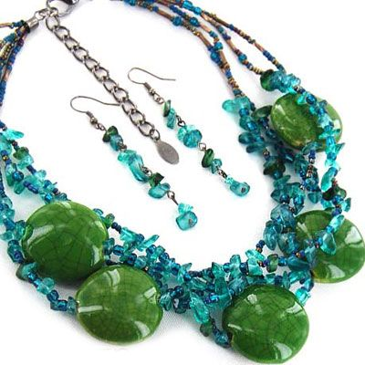NC2778 Green ceramic chip beads necklace set - Wholesale Handbags, wholesale fashion costume