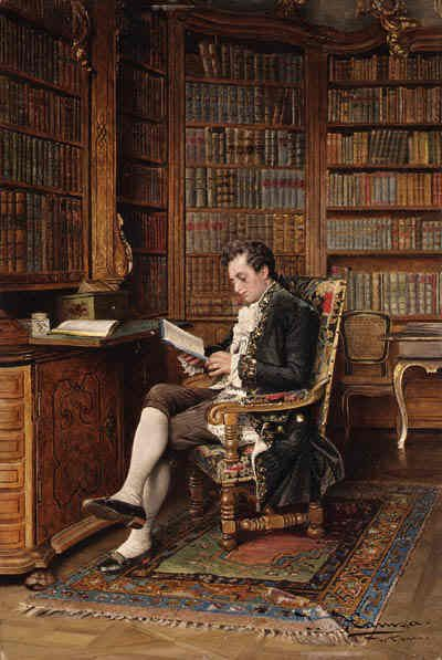 A Gentleman Reading in the Library by Johann Hamza. Austrian Academic Painter (1850-1927):