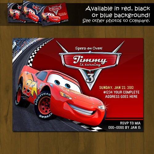 Disney CARS Lightning Mc Queen Invitation Race Car Printable - birthday invitation model